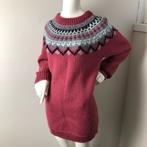 Vintage Hand knit Fair Isle Nordic Sweater Pink XL